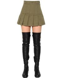 Valentino Pleated Cotton Gabardine Mini Skirt