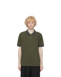 Loewe Khaki Anagram Embroidered Polo