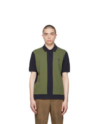Comme des Garcons Homme Deux Navy And Khaki Fred Perry Edition Colorblocked Polo