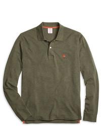 Brooks Brothers Slim Fit Long Sleeve Heathered Polo Shirt