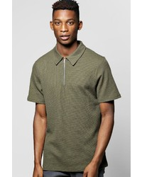 Boohoo Stretch Waffle Polo With Zip Placket