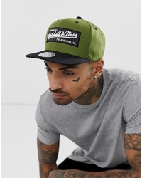Mitchell & Ness Box Logo Snapback Cap In Olive