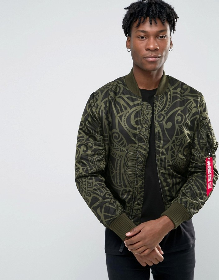 696d7b5fa31 ... Olive Print Bomber Jackets Alpha Industries Ma 1 Bomber Jacket With All  Over Print In Slim Fit Dark Green ...