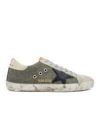 Golden Goose Green And Grey Canvas Sneakers