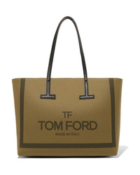 Tom Ford T Medium Med Printed Cotton Canvas Tote