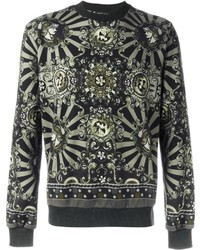Olive Print Crew-neck Sweater
