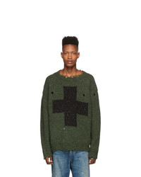 R13 Green Cross Donegal Sweater