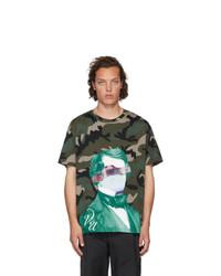 Valentino Green Undercover Edition V Face Ufo Print T Shirt