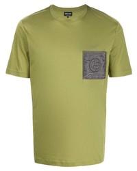 Giorgio Armani Logo Patch Cotton T Shirt