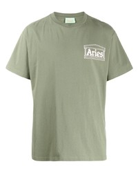 Aries Logo Print T Shirt