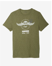 Express Military Skull Crew Neck Graphic Tee