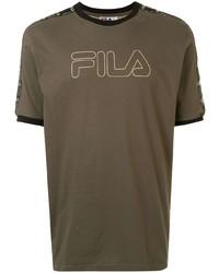 Fila Striped Shoulder Logo T Shirt