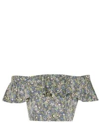 Topshop Limited Edition Print Bardot Crop Top Made From Liberty Fabric