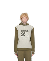 Loewe Khaki And Off White Anagram Hoodie