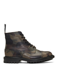 Olive Print Leather Casual Boots