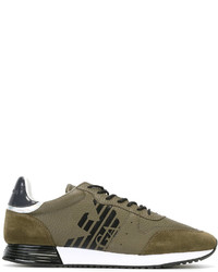 Emporio Armani Logo Print Lace Up Sneakers