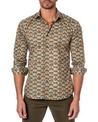 Jared Lang Owl Print Sport Shirt Green
