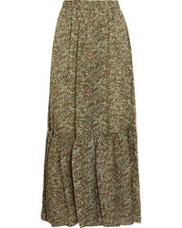 Gilson printed silk voile maxi skirt green medium 1251846
