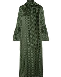Fendi Chiffon Trimmed Printed Silk Satin Midi Dress Green