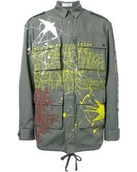 Faith Connexion Graffiti Print Military Jacket