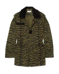 Saint Laurent Med Zebra Print Cotton Blend Twill Jacket