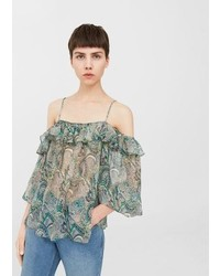 Mango Printed Off Shoulder Blouse