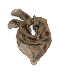 Alexander McQueen Skull Print Silk Chiffon Scarf Beige Green One Size