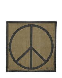 BLK DNM Peace Sign Printed Silk Scarf