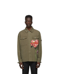 Valentino Khaki Inez And Vinoodh Edition Khaki Denim Floral Jacket