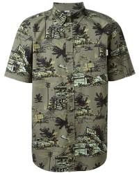 Olive Print Short Sleeve Shirt