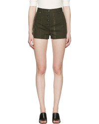 Proenza Schouler Green Printed Canvas Shorts