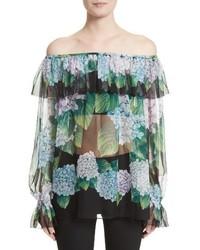 Dolce & Gabbana Dolcegabbana Hydrangea Print Silk Off The Shoulder Top
