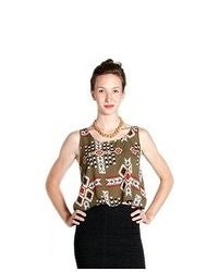 Soho Girl Flowy Aztec Print Top Green