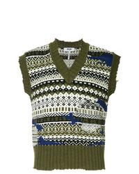 Olive Print Sweater Vest