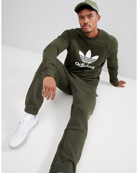 adidas Originals Trefoil Sweat In Green Dm7834