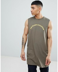 ASOS DESIGN Oversized Vest With Dropped Armhole With No Hard Feelings Print