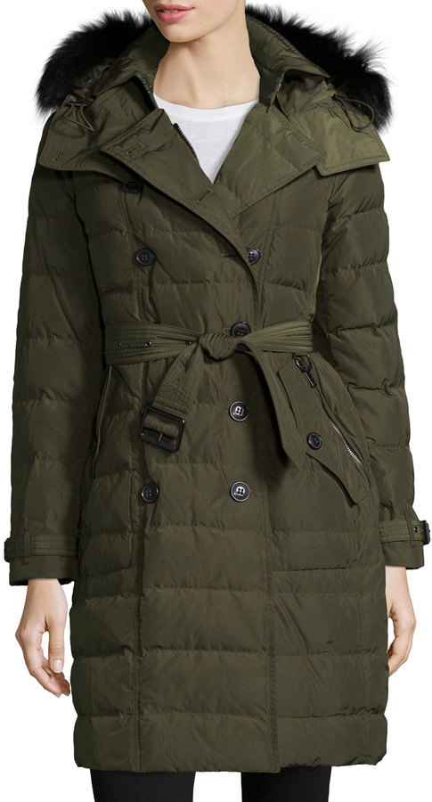 9f670c8d42c $1,395, Burberry Brit Allerdale Double Breasted Puffer Coat With Fur