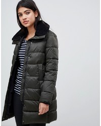 Barbour Darcy Longline Quilted Padded Jacket With Cord Collar