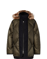 Sacai Faux Fur And Wool Twill Trimmed Quilted Nylon Down Coat