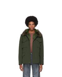 Yves Salomon Green Down Gabardine Coat
