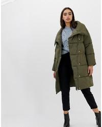 Miss Selfridge Longline Padded Coat In Khaki