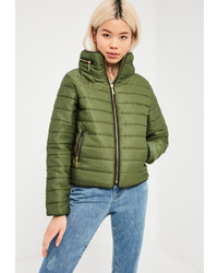 Missguided Khaki Padded Concealed Hood Coat