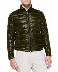 Moncler Acorus Puffer Moto Jacket Olive