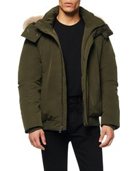 Andrew Marc Adephi Down Bomber Jacket With Genuine Fox
