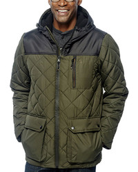 Izod Diamond Quilted Puffer Jacket With Hood