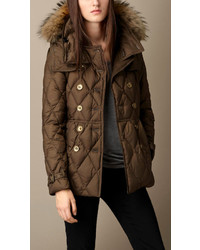Burberry Down Filled Puffer Coat With Fur Trim
