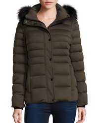 Andrew Marc Fox Fur Trim Convertible Down Puffer Jacket