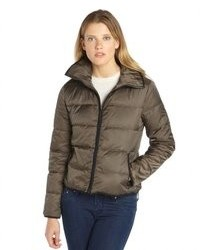 Wyatt Gunmetal Quilted Spread Collar Zip Up Down Filled Puffer Jacket