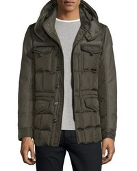 Moncler Jacob Mixed Media Down Field Jacket Olive