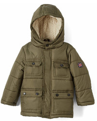 Ben Sherman Olive Four Pocket Hooded Puffer Jacket Infant Toddler